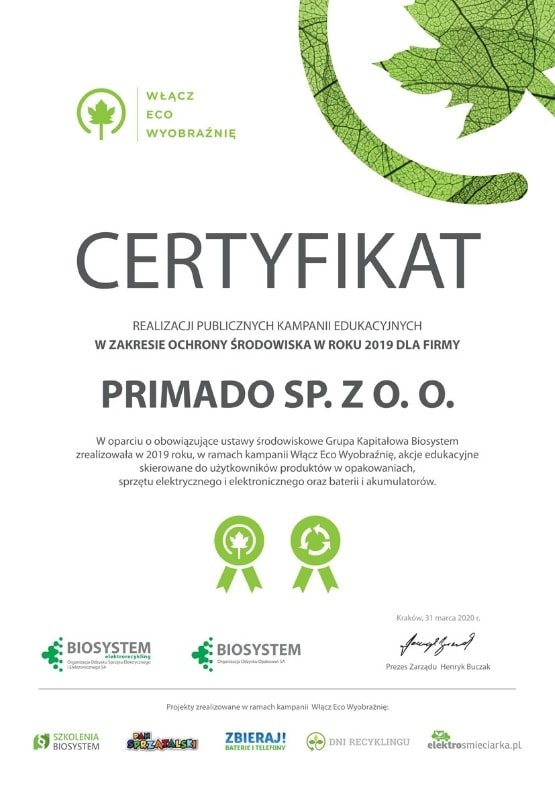 certyfikat dla Primado