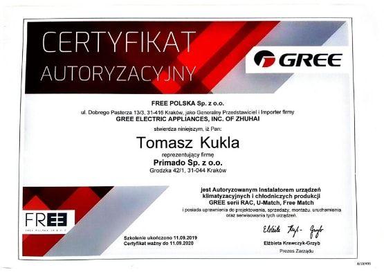 Certyfikat autoryzacyjny - klimatyzacja Gree