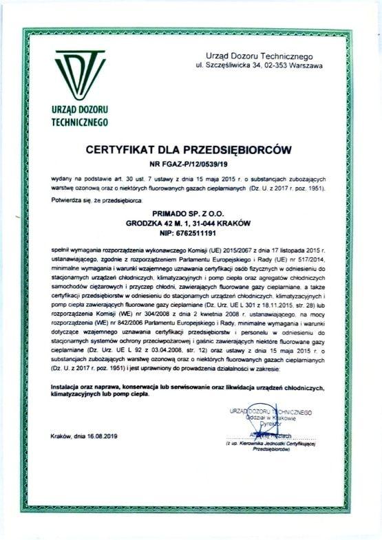 Wystawiony przez Urząd Dozoru Technicznego certyfikat f-gazowy