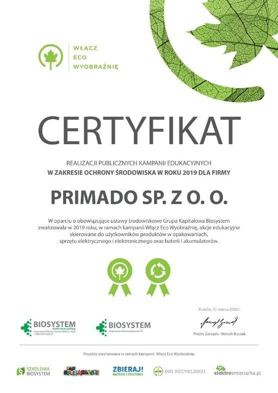 certyfikat realizacja kampanii edukacyjnej w zakresie ochrony srodowiska